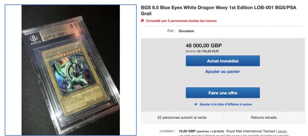 investir dans le dragon blanc aux yeux bleux LOB 1st ED